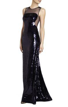 NWT BCBG Evangeline Black Sequin Paillette Gown M $598  #BCBGMAXAZRIA #Festive