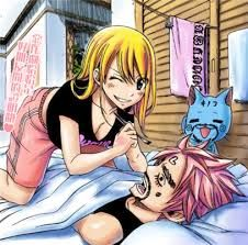 fairy tail natsu and lucy + Happy :D