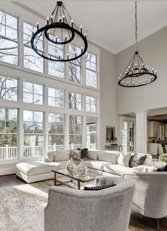 Cozy bright white living room decor Majestic large and white living room decor, bright white decor with white sofas and white swivel chairs, traditional style white living room Home Interior, Living Room Interior, Living Room Furniture, Interior Design, Rustic Furniture, Modern Furniture, Space Furniture, Antique Furniture, Outdoor Furniture