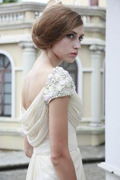 Vintage Ivory Cowl Wedding Dress -  Elliot-Claire-London