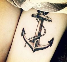 anchor tattoo - leg