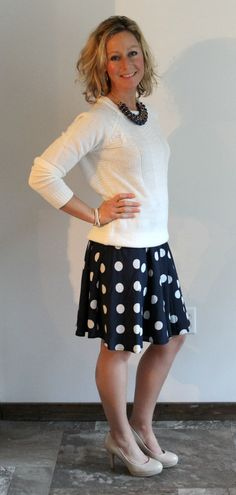 Stitch Fix Review Tiffany Textured Crew Neck Sweater with Polka Dot Skirt - great skirt length with classic sweater. Like the polka dots and navy.