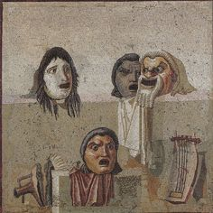 Roman mosaic showing masks and lyre. Object located in Rome, Vatican Museums. Ancient Rome, Ancient Art, Ancient History, Rome Painting, Archaeological Finds, Roman History, Greek Art, Beauty Art, Monster