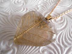 Heart of Gold-Pressed Gold Skeleton Leaf by giftforallseasons
