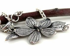 Silver Chain Bracelet Flower Leaf Delicate by JewelsbyTrish, $15.00