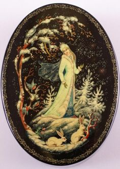 Russian lacquer miniature from the village of Kholuy. Snegurochka (a kind of Snow Maiden) is in her native home – in the winter snowy wood.
