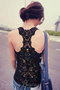 Sexy Black Lace Tank Top Women's Clothing