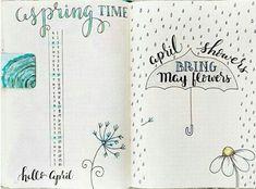 April Bullet Journal, Bullet Journal Monthly Spread, Bullet Journal Mood, Bullet Journal Ideas Pages, Bullet Journal Inspiration, Book Journal, Bullet Journals, Bullet Journal Hand Lettering, Bujo Monthly Spread