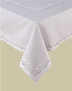 Fleur De Lis White Linen Tablecloth Set With Matching Napkins, Linen,  Machine Embroidery And Hand Hemstitch.