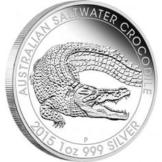 2015 Australian Saltwater Crocodile 1oz Silver Proof Coin. The Australian Saltwater Crocodile is the largest reptile in the world in terms of body mass, and is found in suitable habitats from northern Australia through Southeast Asia to the eastern coast of India. Their sheer enormity makes them the most dangerous of all crocodiles to humans.  Struck by The Perth Mint from 1oz of 99.9% pure silver, the coin is issued as legal tender under the Australian Currency Act 1965.