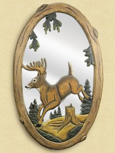 Jumping Deer Wooden Mirror For $298.99