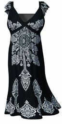 SALE! Cute Black & White Plus Size Empire Waist Dress 1x