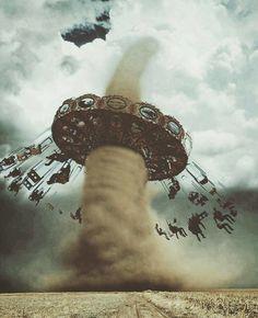 Fair/amusement park, clouds/storm, surrealism