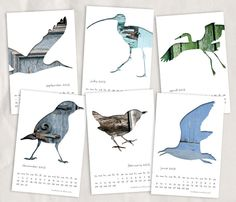 2013 calendar, bird silhouette collage photography, 4x6, unbound, monthly, garden animal, rustic, shabby, gray, blue, taupe, desk, mini. $20.00, via Etsy.