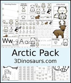 Free Arctic Pack - over 45 pages of activities for kids ages 2 to 7 - 3Dinosaurs.com