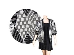 Large Black & White Geometric Print Button by IntertwinedVintage