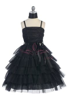 Black Multi Tired Layer  Tulle Jr. Bridesmaid Dress G2974B $56.95 on www.GirlsDressLine.Com