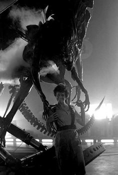 Sigourney Weaver and the Alien Queen on the set of Aliens