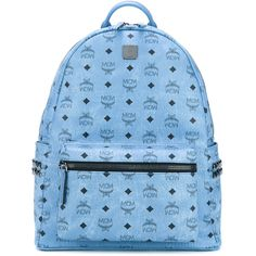 MCM logo print studded backpack ($701) ❤ liked on Polyvore featuring bags, backpacks, blue, mcm, day pack backpack, mcm backpack, daypack bag and mcm rucksack