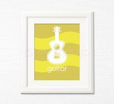 Guitar  Mustard and Yellow Nursery Art Print  8x10  by pixelgecko, $14.90