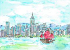 victoria harbour with junk / Kiyoko Yamaguchi Artworks