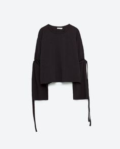 Image 8 of T-SHIRT WITH SLEEVE CORDS from Zara