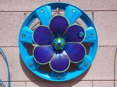 Hubcap Wallflower  Blue and Purple Shimmer   Garden by HubCrafts