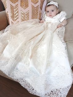 BuyBro Baby Girls Long Soft Lace Baptism Christening Gowns Dresses Trim Edge