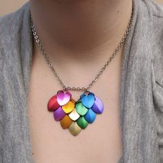 Dragon Scale Heart Necklace Rainbow Heart Aluminum Scales