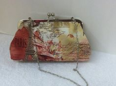 Frame Clutch Purse in French Printed Fabric by TWOGREENPARROTS, $40.00