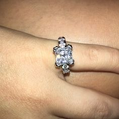 5 square cz diamond ring Like new Jewelry Rings
