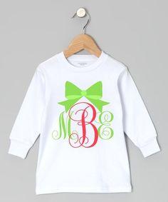 Look what I found on #zulily! Red & Green Cursive Monogram Long-Sleeve Tee - Toddler & Girls #zulilyfinds
