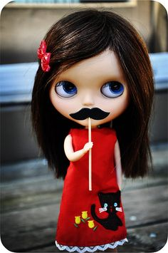 "Blythe with 'stache. I'm going to have to make one of these. Whenever Z sees an impressive mustache she goes, ""look at that dude."""