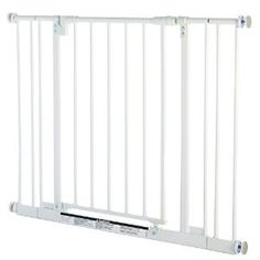 1. North States Supergate Easy Close Metal Gate ~ $49 (pressure mounted): This is our favorite! This self-closing, one-handed open steel gate swings both ways, requires no assembly, and includes two extensions if you need to expand the width of the gate (up to 38.5″).