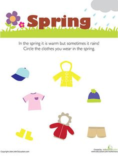 Preschool weather & seasons worksheets and coloring pages help your kid better understand his environment. Check out our preschool weather & seasons printables. Seasons Worksheets, Seasons Activities, Spring Activities, Activities For Kids, Weather Activities, Preschool Themes, Preschool Science, Preschool Worksheets, Nursery Worksheets