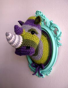 Crochet color block rhino head. ₪450.00, via Etsy.