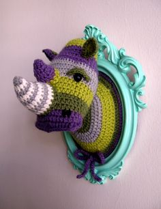 ridiculous, but awesome. crochet rhino head trophy