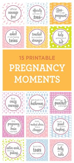 15 Free Pregnancy Milestone Printables that keep it real! Forget the typical 'baby kicks', what about the first time you needed help out of the tub? (They would even make a cute, inexpensive shower gift.)