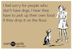 I feel sorry for people who don't have dogs.  I hear they have to pick up their own food if they drop it on the floor.