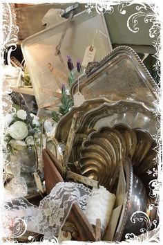 silver platters and trays for sea shells and fun stuff