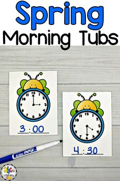 Are you looking for an morning work alternative to worksheets? These Spring Morning Tubs are an engaging and entertaining way to start your day! Your preschoolers, kindergartners, or first graders will use these May Morning Tubs to learn and review 5 math concepts like telling time. This set of fun, hands-on Spring activities also include 5 literacy morning tubs. Click on the picture to learn more about these morning work activities! #morningtubs #tellingtime #springmorningtubs #howtotelltime