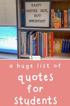 Check out this list of 50+ inspirational and motivational classroom quotes. Post them on your wall, your bulletin board, your board, your classroom letter board to inspire your high school students, elementary students, or middle school students! Some of these positive quotes for kids are funny and some are just cute. They are great for kids' encouragement whether your class is a virtual classroom or a face-to-face classroom! Inspirational School Quotes, Positive Quotes, Motivational, Quotes For Students, Quotes For Kids, Classroom Wall Quotes, Classroom Ideas, Middle School Quotes, High School Organization
