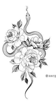 Simbolos Tattoo, Cobra Tattoo, Snake Tattoo, Snake And Flowers Tattoo, Bild Tattoos, Dope Tattoos, Badass Tattoos, Line Art Tattoos, Body Art Tattoos