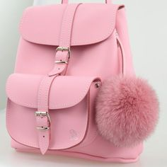 Grafea BELLE Pink Leather rucksack with Pom Pom