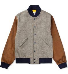 Oxford Grey Wool Varsity Jacket by Mark McNairy