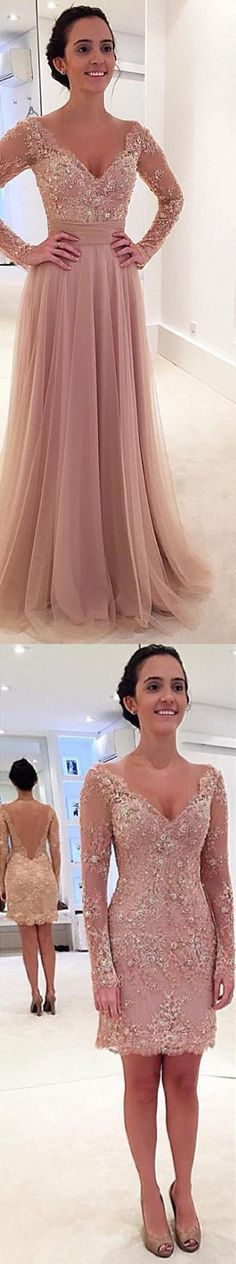 Princess Prom Dress,Long Sleeves Prom Dress,V-neck Prom Dress,Tulle Prom Dress,Prom Dress with Detachable Train,Prom Dress,Prom Dresses,2017 Prom Dress,2017 Prom Dresses