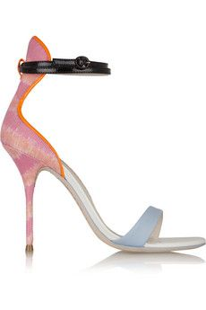 Sophia Webster Nicole leather and printed canvas sandals  | NET-A-PORTER