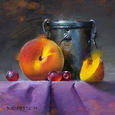 Peach & Turps by David Cheifetz Oil ~ 6 x 6