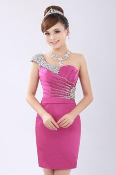 One Shoulder Beads Slim Fit Sexy Short Bridesmaid A-Line Wedding Dresses | Buy Wholesale On Line Direct from China