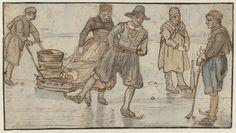 1615-1634. Avercamp, drawing. Schaatsers en kolvers op het ijs
